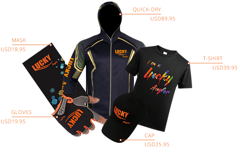 A collection of fishing gifts from Lucky fish finder anglers